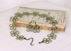 Tatted jewelry set: necklace and earrings in vintage khaki with antique brass finishings - traditional influences