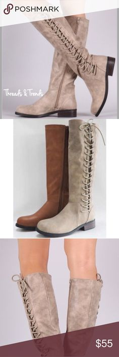 "Taupe Side Lace Up Rider Boots Taupe rider boots with the hot trending lace up detail sides.                                                                                        Heel Height: 1.25"" (approx) Shaft Length: 16.25"" (including heel) Top Opening Circumference: 14.25"" (approx) Threads & Trends Shoes Lace Up Boots"