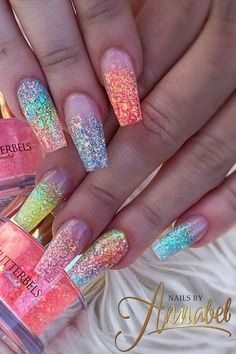 Colorful Glitter Ombre Nails for Summer summernails glitternails 638948265865978143 Rainbow Nails, Neon Nails, Glitter Nails, Bright Summer Acrylic Nails, Best Acrylic Nails, Bright Pink Nails With Glitter, Purple Glitter, Cute Acrylic Nail Designs, Nail Art Designs