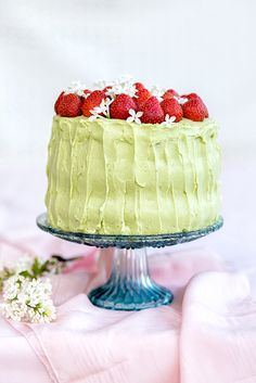 Matcha and Strawberry Layer Cake with Mascarpone Filling