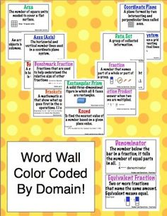 5th Grade Common Core Math Vocabulary Word Wall and More - Help your students master the math vocabulary from the Common Core Standards. This 100 page printable packet contains a printable word wall, flash cards, and vocabulary flip booklets! $