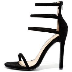 Floor is Yours Black Suede High Heel Sandals ($25) ❤ liked on Polyvore featuring shoes, sandals, heels, black, black suede sandals, black high heel shoes, high heel shoes, black strappy sandals and black high heel sandals