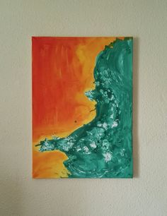 Orange turquoise abstract painting