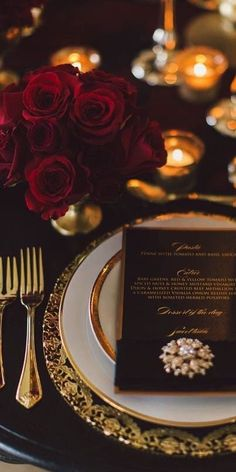 New Wedding Winter Red Table Settings Ideas Gold Wedding Colors, Gold Wedding Theme, Gold Wedding Decorations, Black Tie Wedding, Elegant Wedding, Wedding Centerpieces, Wedding Reception, Lace Wedding, Red Table Settings