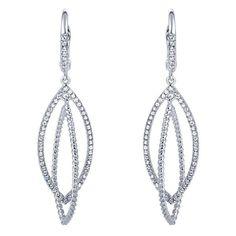 14k White Gold Diamond Drop Earrings | Gabriel & Co NY | EG11376W45JJ