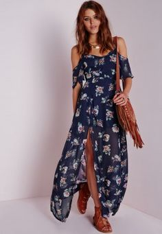 Cold Shoulder Maxi Dress Floral