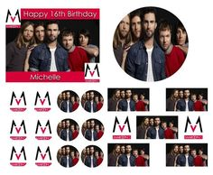 MAROON 5 Birthday Cake Frosting Edible Image Toppers, Cupcakes, Sides, Thank You Cards or Invitations by WilsonCakeImaging on Etsy