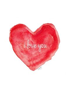 Watercolor Painting i love you Valentine's Day Heart Red Heart on Etsy, 13,57 €