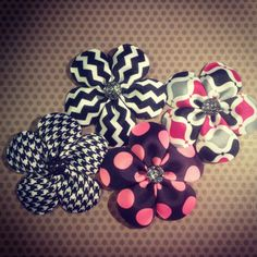 Set of 4...Hot Pink, Black, Houndstooth, and Chevron Flower Hairclips...Girls Hairbows...Baby/Infant Hairbows...Hairclips on Etsy, $18.00