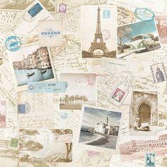 Modern Wallpaper Summer Vacation Vintage Postcards - http://www.muriva.com/portfolios/modern-wallpaper-summer-vacation/
