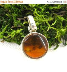 Your BEST GIFT Baltic Amber Round Pendant in sterling silver Russian vintage cognac amber jewelry valentine's day gift gemstone necklace lea