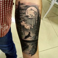 Man And Women Tattoo : x Wolf Tattoo Sleeve, Nature Tattoo Sleeve, Deer Tattoo, Calf Tattoo, Tattoo Sleeve Designs, Arm Band Tattoo, Sleeve Tattoos, Forest Forearm Tattoo, Forest Tattoos