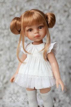 """Paola Reina clothes Outfit for doll Dress with lace White dress Paola Reina Dress for doll 13"""""""