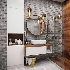 Banheiro com porcelanato amadeirado Best Bathroom Designs, Bathroom Trends, Modern Bathroom Design, Bathroom Interior Design, Modern Bathrooms, Farmhouse Bathrooms, Cool Bathroom Ideas, Small Luxury Bathrooms, Toilet And Bathroom Design