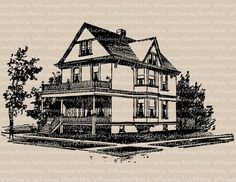 Victorian House - Clip Art Image - Two Story – Architecture Illustration – Digital Stamp – Printable Transfer - instant download - CU OK