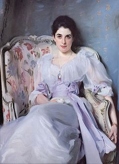 Lady Agnew wears diaphanous puffed, but not leg-o-mutton, sleeves and a bertha framing a sweetheart neckline in this 1892 Sargent Portrait.