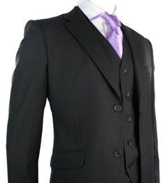 Mens Suit Black 3 Piece Work, Wedding or Party Suit *Short, Regular, Long* UK