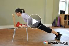7-Minute Arm Tone-Up with Dumbbells & a Chair. Your arms will look AMAZING if you follow this routine 2-3 times per week! | via @SparkPeople #fitness #exercise #workout #back #shoulder #tricep #video