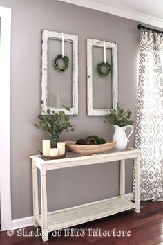 Living Room decor –  rustic farmhouse style with painted white console table, ol…  http://www.nicehomedecor.site/2017/07/31/living-room-decor-rustic-farmhouse-style-with-painted-white-console-table-ol/