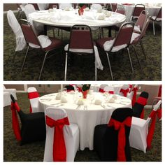 Before/After! Our Spandex Chair Covers and Sashes truly make a difference!! Please visit www.bayarealinens.com for more information! #red #black #white #spandex #chaircover #sash #party #wedding #bridal #bayarea #rental #picstitch