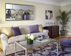 """This contemporary mirror has an """"Art Deco"""" feel. The frame has a silver-champagne finish with floating polished mirrors and an inner circular frame. It can be hung horizontally or vertically. Interior Design Blogs, Interior Decorating, Sofa Design, Smart Design, Living Room Paint, Maine House, House Painting, Family Room, Benjamin Moore"""