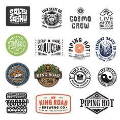 Stuart Smythe Logo design branding illustration Various logos crated for brands over the years. Design Retro, Vintage Logo Design, Graphic Design, Surf Design, Vintage Logos, Ad Design, Vintage Designs, Hand Drawn Logo, Hand Logo