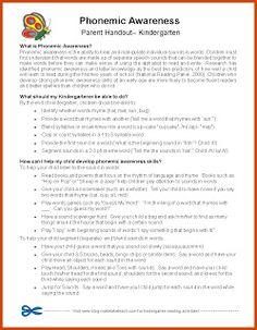 Classroom Freebies: Parent Handouts for Phonemic Awareness Standard 1 Knowledge of literacy 1.2 developing phonemic awareness