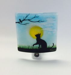 Fused Glass Night Light Cat by CDChilds on Etsy
