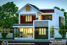planos 163 sq-m beautiful mixed roof 4 BHK Kerala home House Roof Design, House Outside Design, Flat Roof House, 2 Storey House Design, Simple House Design, Bungalow House Design, Container House Design, Modern House Design, Front Design Of House