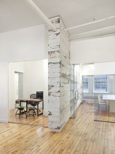Washed out pillars make great-looking office dividers.