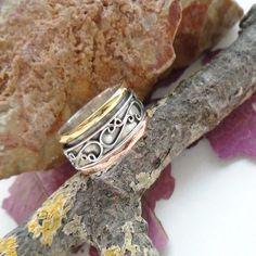 Bandring-Ring-Kupfer-amp-teilvergoldet-17-0-mm-925-Sterling-Silber