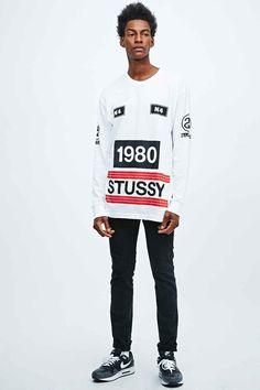 Stussy 1980 Stripe Long Sleeve Tee in White