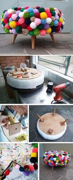 The Cutest Mod Pompom Stool
