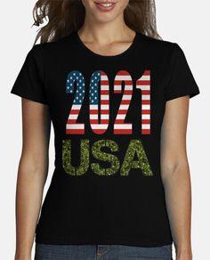 USA 2021 Azul Royal, American Flag, T Shirt, Women, Fashion, T Shirts, Feminine, Elegant, Clothing