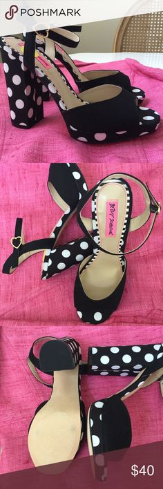 """Betsey Polka Dot Platform Sanals Beautiful black fabric & white polka dot fabric open toe sandals. Gold heart buckle on ankle strap. Heel is 4.5"""" with a 1/2"""" platform. NWOB Betsey Johnson Shoes"""
