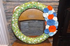 Fabric Wrapped Wreath by HOMESPUNbyStephanie on Etsy, $26.00