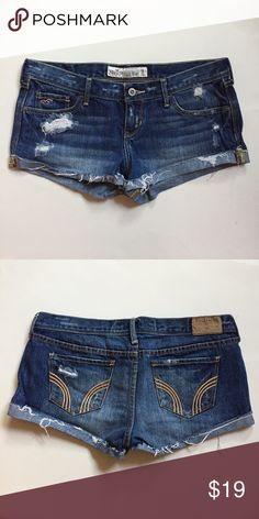 Hollister Distressed Demin Short Shorts Sz 7 New Brand New, never worn. I bought these a while ago and never had the courage to wear them because they were short shorts. 😅 They're super cute. Has 5 pockets. Distressed design with foldover hems. Hollister Shorts
