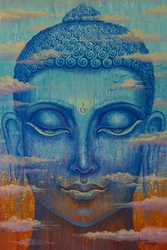 """""""Just as a mighty boulder stirs not with the wind, so the wise are never moved either by praise or blame."""" ~ The Buddha - The Dhammapada Artist: Yuliya Glavnaya Title: Among the clouds ♥ lis Gautama Buddha, Buddha Buddhism, Buddha Art, Buddha Meditation, Buddha Peace, Modern Painting, Buddha Painting, Eckhart Tolle, Sacred Art"""