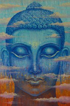 In den Wolken. Giclee print, moderne Gemälde, Abbildung, Acrylgemälde