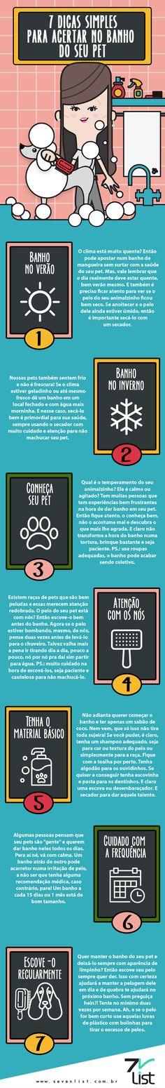 Nossos pets são mais do que nossos fiéis companheiros, e é claro que merecem um cuidado super especial. Pensando nisso o Seven List separou 7 dicas simples para acertar no banho do seu pet, uma das tarefas que mais demanda atenção e cuidado. #Sevenlist #Infográfico #Infographic #List #Lista #Design #Pet #Ilovemypet #Dicas #Banhoetosa #Banho #Dog #Cat #Animals #Animaisdeestimação #Ilovemydog #Ilovemycat #Cuidados #Animais #Verão #Inverno #Pelo #Secador #Raça #Companheiros #Melhoramigo