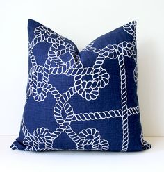Navy Blue and White Nautical knots Decorative Designer Pillow Cover by Whitlock and Co. on Etsy