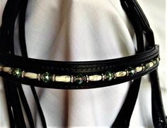 16 inch Dressage black leather bridle with crystal browband .FREE shipping/USA!
