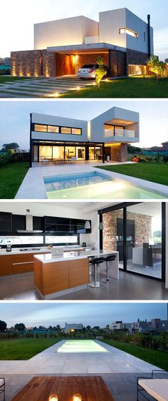 haus design The A House by Estudio GM ARQ in Buenos Aires, Argentina is a contemporary home tailored to the owners' expectations. Modern Architecture House, Residential Architecture, Architecture Design, House Front Design, Modern House Design, Villa Design, Architect House, Dream House Plans, Future House