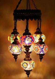 7 Balls Turkish Mosaic chandelier lamp NEW