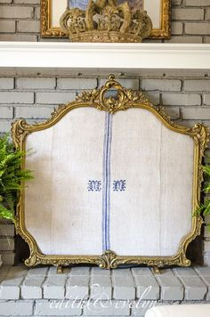 Diy fireplace screen from repurposed window screen in place creating a fireplace screen edith evelyn vintage edithandevelynvintage solutioingenieria Image collections