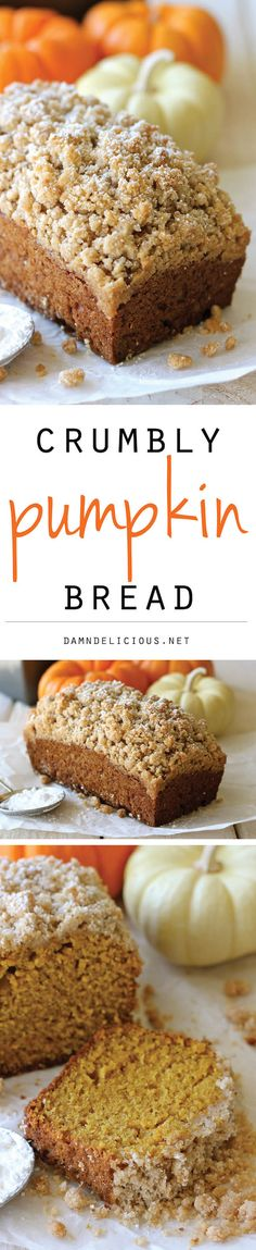Crumbly Pumpkin Bread Recipe via Damn Delicious – With lightened-up options, this can be eaten guilt-free! And the crumb topping is out of this world amazing! Easy Desserts, Delicious Desserts, Dessert Recipes, Damn Delicious Recipes, Drink Recipes, Pumpkin Bread, Pumpkin Spice, Sugar Pumpkin, Spiced Pumpkin
