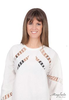 Textiles, Sweatshirts, Sweaters, Tops, Fashion, White Shirts, Linen Shirts, Embroidered Clothes, Blouses