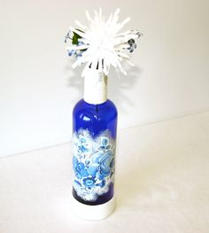 Deep Blue Decorative Liquor Bottle Floral Gift Handmade Home Decor by NevadaLadyJ on Etsy