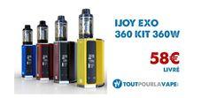Dimensions : 58 x 40 x 84 mm Poids : 196g Grand écran OLED Taille max de l'atomiseur: 30mm Puissance Max : 360W (avec 4 accus18650 ) ou 220W (avec2 accus18650) Box double ou quadruple accus 18650 (non inclus) Plage de température : de 100à 315°C / de 200 à 600°F   La EXO Box avec le EXO XL  Livré avec un atomiseurEXO XL Tankde 5 ml(vendu seul à 22.90€) x1 Résistance XL-C2 0.3 ohm (40-80W) x1 Résistance XL-C4 0.15 ohm (50-215W)  Prix promo en pré-commande jusqu'au 15 fév...