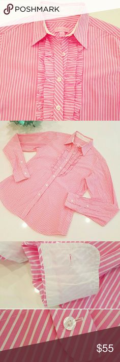 🎉SALE🎉 Lilly Pulitzer Pink & White Button Down! Lilly Pulitzer pink & white striped ruffled tuxedo style button down! Like new condition! Lilly Pulitzer Tops Button Down Shirts